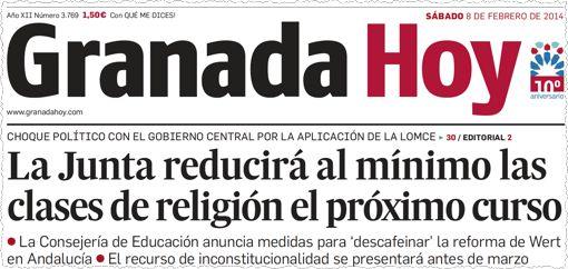מי צריך נצרות? התרחקותה של ספרד מזהותה הדתית נרמזה בו ביום שהממשלה במדריד הודיעה על חוק השבות שלה ליהודים. הכותרת בעתון הזה, בעיר גרנדה (שבה הוכרז גירוש היהודים ב-1492), מודיעה, כי ממשלת האיזור האוטונומי של אנדלוסיה החליטה לצמצם עוד יותר את החינוך הדתי הניתן בבתי הספר