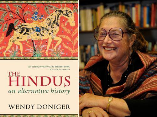 וונדי דוניגר (בצילום לא-חדש) לצד כריכת ספרה המוחרם, ׳ההינדו: היסטוריה חלופית׳ (מונטאז׳ מקומי. המקור: על הרשת)