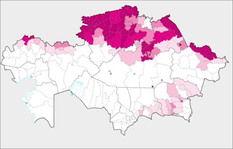 האזורים הרוסים/סלאבים בקזחסטן