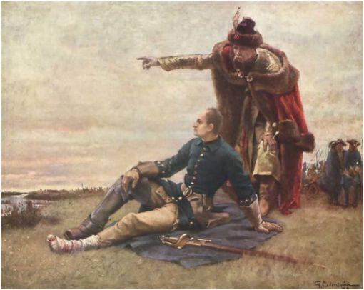 1709 חוזרת? בשנה ההיא קיווה המלך קרל ה-12 משוודיה לשבור את רוסיה אחת ולתמיד. הוא קשר קשר עם מנהיג הקוזאקים איוואן מאזפה (Мазепа, Mazepa). בציור הזה נראים קרל (היושב) ומאזפה זוממים נגד רוסיה ערב הקרב הגורלי בפולטבה. רוסיה ניצחה -- ואסרה מלחמה על שמו של מאזפה ועל זכרו. דורות רבים לאחר ״בגידת מאזפה״, הוא מוסיף להסעיר ולפלג. ב-2009 הודיעה אוקראינה שהיא תציב אנדרטה למאזפה בפולטבה. הרוסים הזהירו את אוקראינה מפני ״משחקים מסוכנים עם ההיסטוריה, בייחוד עם מניעים לאומניים חבויים״. אפשר למצוא עוד בוויקיפדיה באנגלית. (המקור: וויקימדיה)