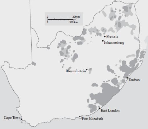 שלושה-עשר אחוז לשבעים אחוז: קמצנותם הטריטוריאלית של הלבנים מתחוורת על המפה הזו, שסורטטה בשני שלבים, ב-1913 (הכתמים הכהים) וב-1936 (הכתמים הבהירים). אלה ״שטחי המחיה״ שהוקצו לשחורים בדרום אפריקה, ה׳בנטוסטנים׳. הם נועדו להיות הבסיס לאחת-עשרה מדינות עצמאיות