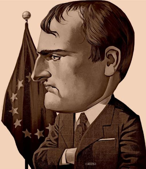 נפוליאון במדי-הקרב של מדינאי אירופי מודרני, על רקע דגל האיחוד האירופי. איור ב׳פייננשל טיימס׳. אגב, האיור הזה בא לצד רשימה שבה טען ההיסטוריון היהודי-בריטי המרתק, סיימון שאמה (Schama) נגד כל נסיון להעמיד את נפוליאון כמופת של השראה למנהיגים בני ימינו. אלא אם כן יש להם צבא בלתי-מנוצח, כמובן