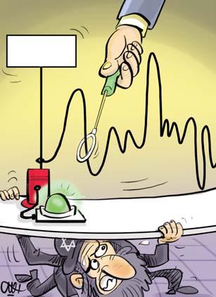 הו, לא, הננס הציוני המכוער התגנב אל מתחת לשלוחן המשא-ומתן, והוא מנסה בשארית כוחותיו הננסיים לסכל אותו. קריקטורה של עלי רג׳אבי ב Iran Daily, עשרים-ותשעה ביוני 2015